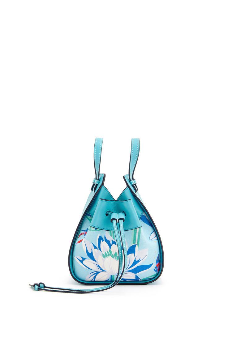 LOEWE Mini Hammock Drawstring Bag In Classic Calfskin And Waterlily Canvas Light Blue/Aqua pdp_rd