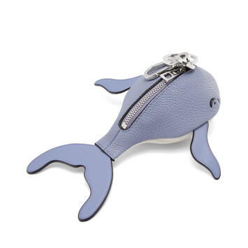 LOEWE Whale Charm In Soft Grained Calfskin Blueberry/Soft White front