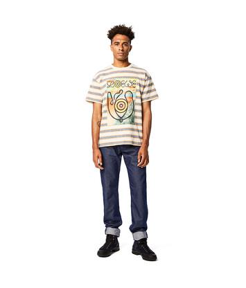 "LOEWE ""EYE""自然条纹T恤 蓝色/橙色 front"