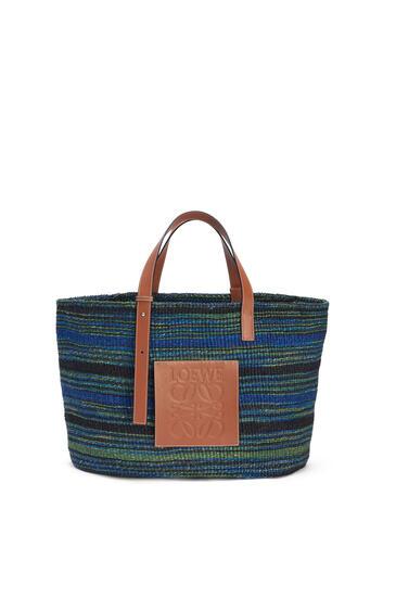 LOEWE Large Basket Bag In Sisal And Calfskin Black/Blue pdp_rd