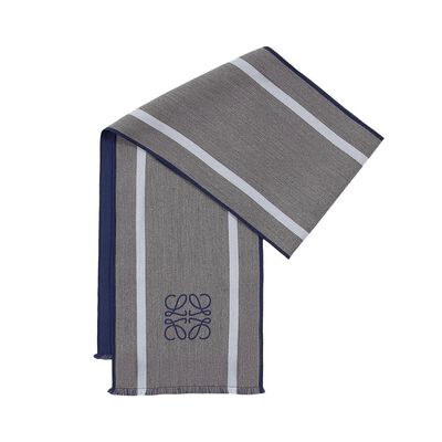 LOEWE 30X200 アナグラム&ストライプ スカーフ Blue/Blue front