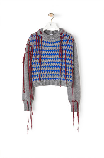 LOEWE Cropped Woven Fringe Sweater Azul/Gris front