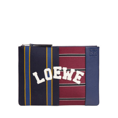 LOEWE Medium Flat Pouch Varsity Multicolor/Marine front