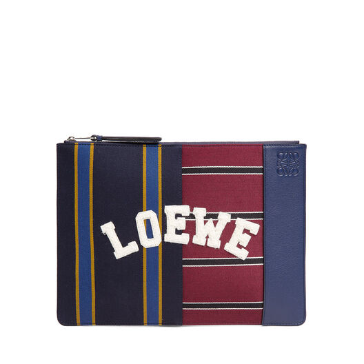 LOEWE Pouch Plano Mediano Varsity Multicolor/Marine Azul all