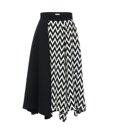 LOEWE Asymmetric Herringbone Skirt Black/White front