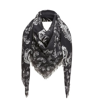 LOEWE 140X140 Scarf Feathers 白色/黑色 front