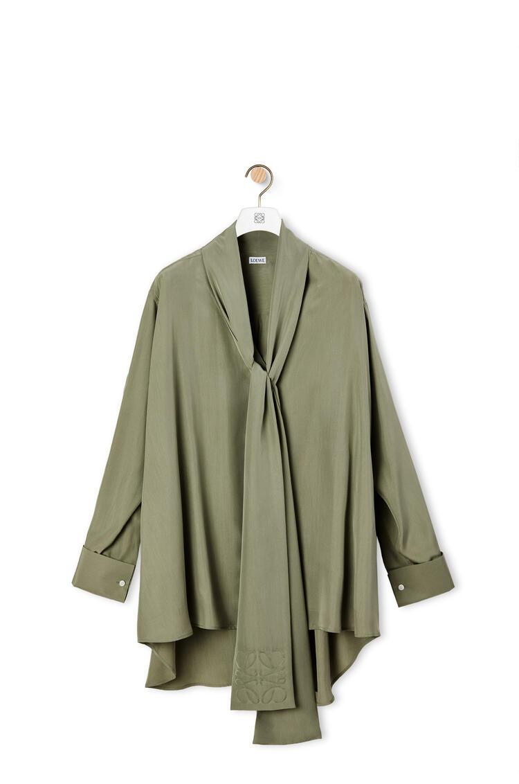 LOEWE Anagram jacquard lavaliere blouse in silk Sage pdp_rd