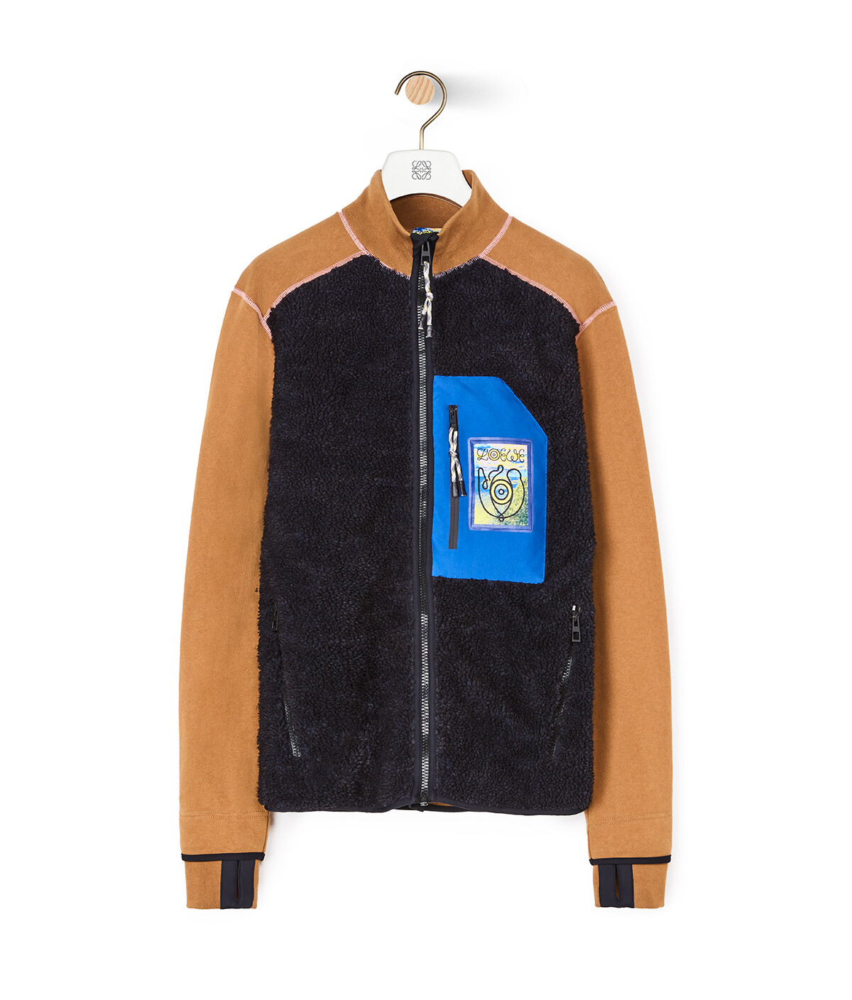 LOEWE Eln High Neck Fleece Jacket Black/Camel front