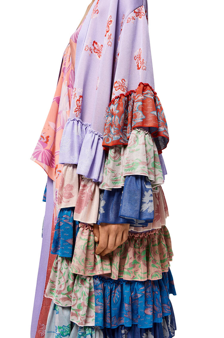 LOEWE Ruffle Knit Robe Coat In Viscose Lilac/Multicolor pdp_rd