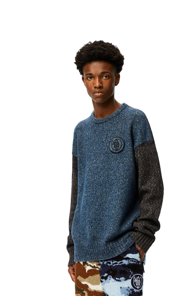 LOEWE Crewneck sweater in cotton and wool Blue/Grey pdp_rd