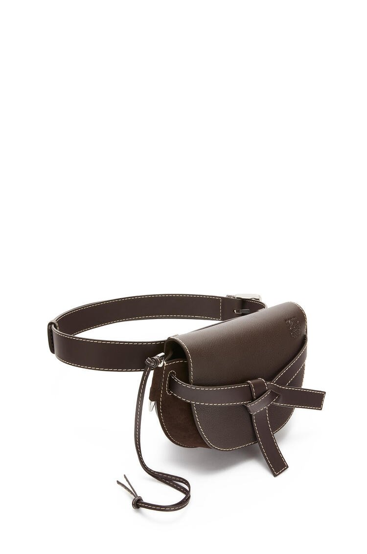 LOEWE Large Gate bumbag in suede and calfkin Chocolate Brown pdp_rd