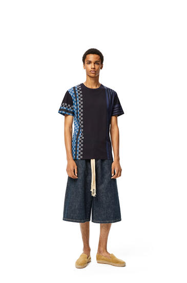 LOEWE Anagram embroidered t-shirt in stripe cotton Navy Blue/Multicolor pdp_rd