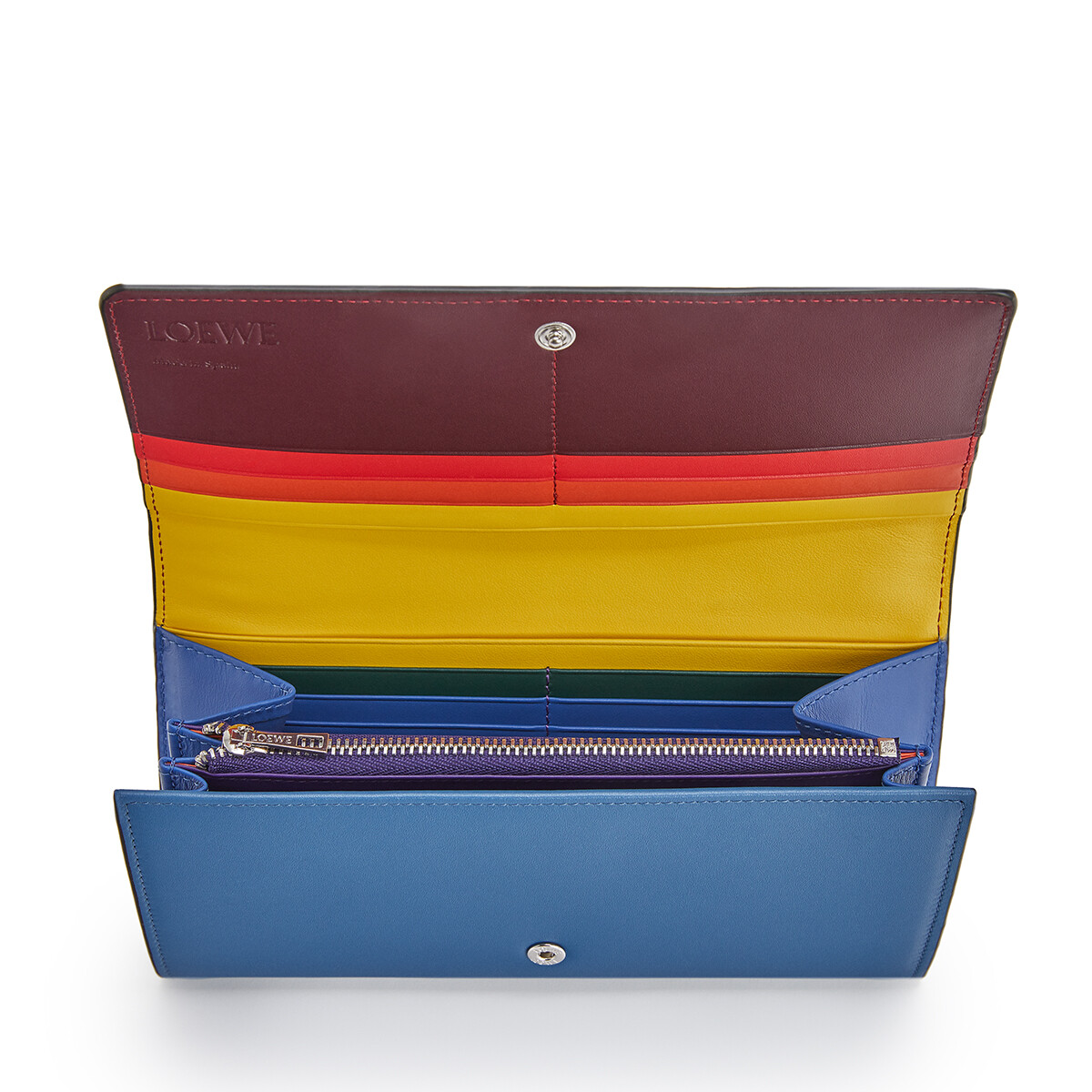 LOEWE Rainbow Continental Wallet Blue/Multicolor front