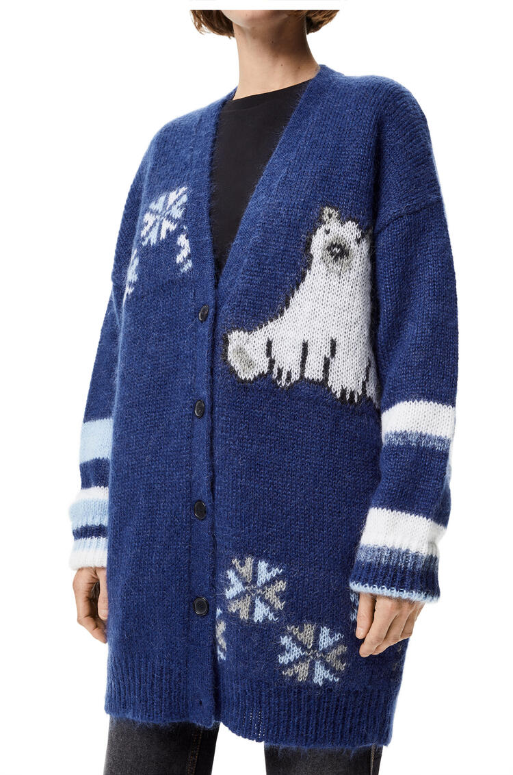 LOEWE Oversize bear cardigan in mohair Navy Blue/Royal Blue/White pdp_rd