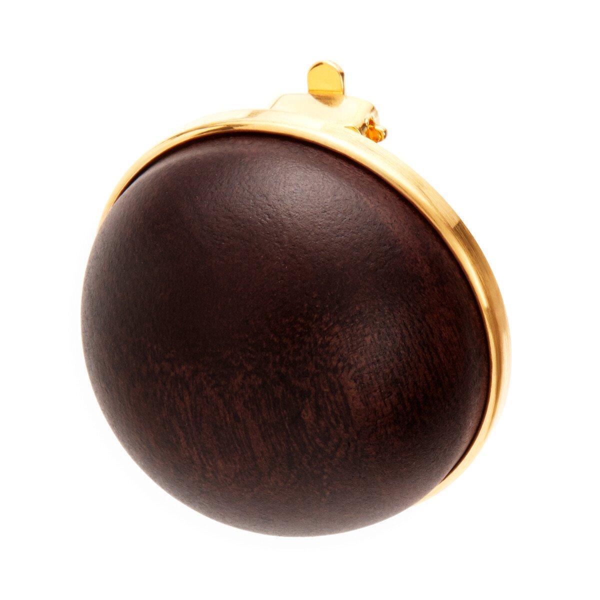 LOEWE Globe Earrings Wood 黑色 front