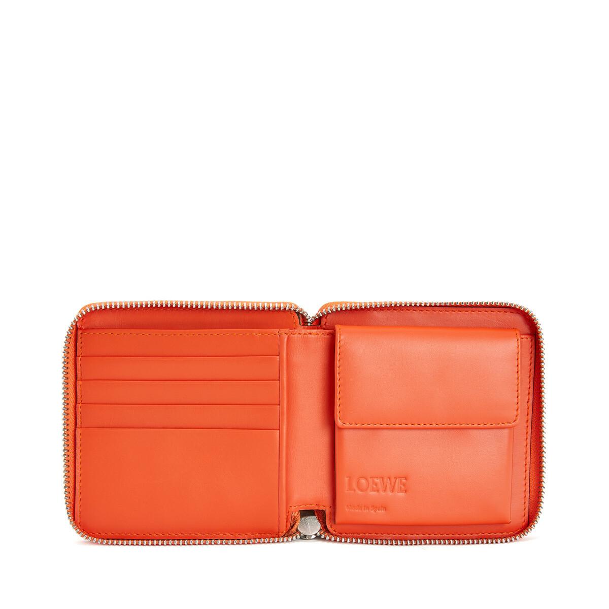 LOEWE メイズスクエアジップウォレット Tan/Orange front