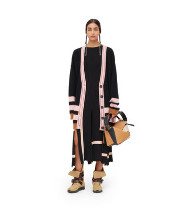 LOEWE Stripe Cardigan Negro/Rosa front
