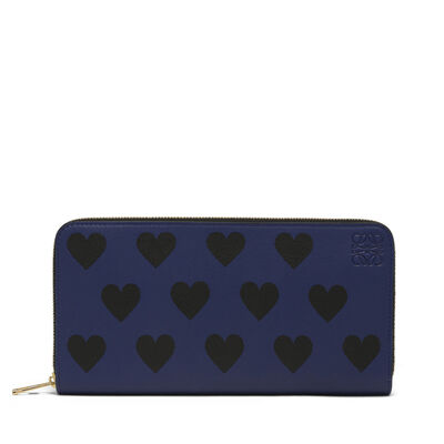LOEWE Zip Around Wallet Hearts Royal Blue/Black front