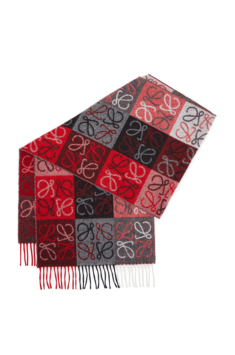 LOEWE 38 x 180 cm LOEWE anagram scarf in wool and cashmere White/Red pdp_rd