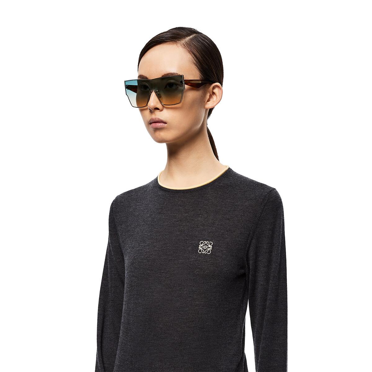 LOEWE Large Mask Sunglasses Aquamarine/Toffee front