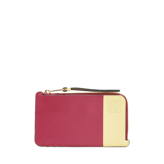 LOEWE Color Block Coin Card Holder Raspberry/Yellow front