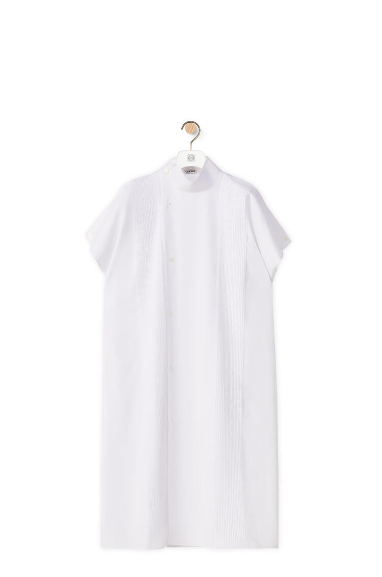 LOEWE Pleated midi shirt dress in cotton White pdp_rd