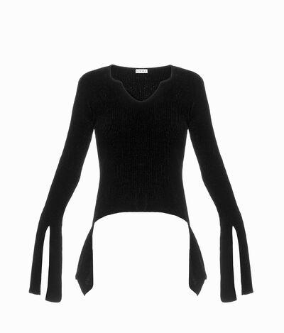 LOEWE Long Cuff Velvet Sweater Black front