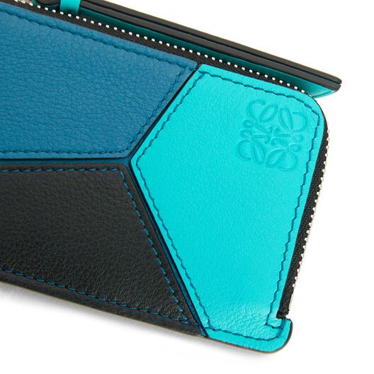 LOEWE Puzzle Coin Cardholder Dark Lagoon/Black front