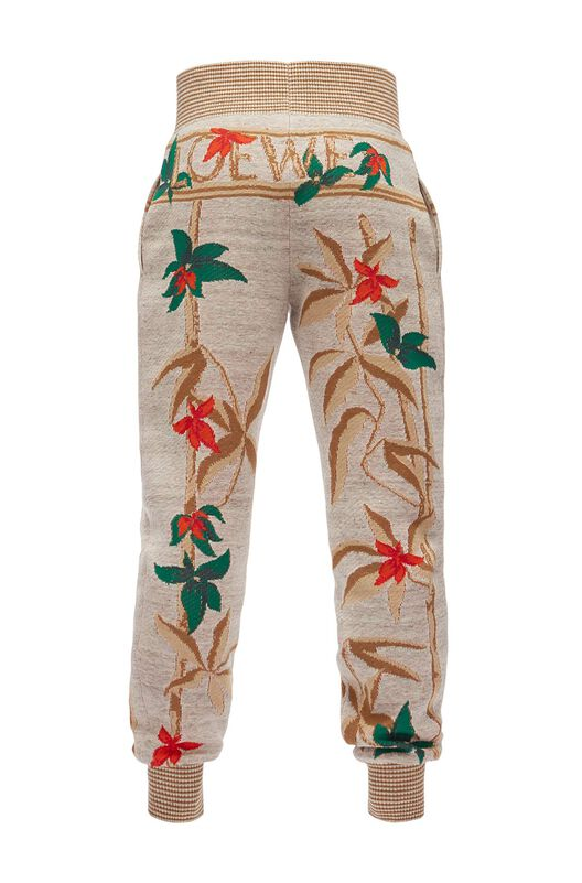 LOEWE Trousers Flowers Light Grey/Multicolor front