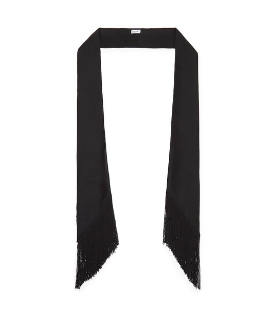LOEWE 26X176 Scarf Lavaliere Fringes Negro front