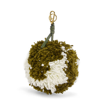 LOEWE Charm Pompon Grande Verde Kaki/Blanco Suave front