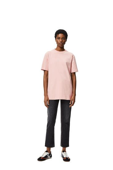 LOEWE 圆形棉质罗纹衣领短袖T恤 Pale Salmon pdp_rd