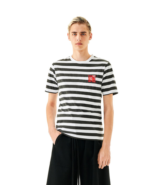 LOEWE Stripe T-Shirt Loewe Dodo Embroidered 白色/黑色 front