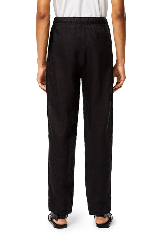 LOEWE Pantalón De Lino Negro front
