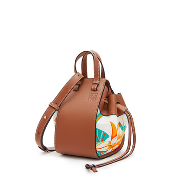 LOEWE Mini Hammock Drawstring Bag In Classic Calfskin And Waterlily Canvas Tan/White front