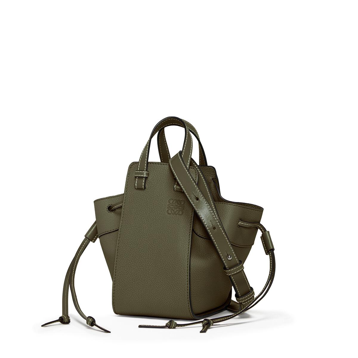 LOEWE Hammock Drawstring Mini Bag Khaki Green front