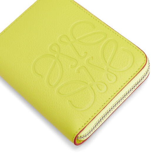 LOEWE Brand 6 Card Zip Wallet Lime front