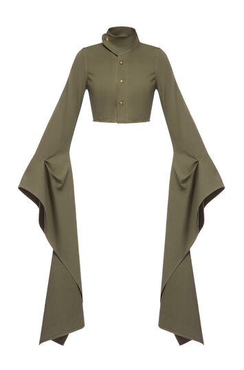 LOEWE Extra Long Slv Cropped Jacket Khaki Green front