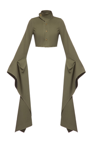 LOEWE Long Sleeve Cropped Jacket Verde Kaki front