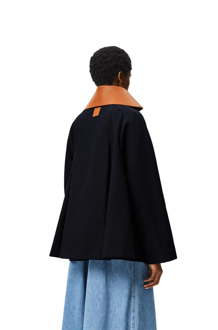 LOEWE Leather collar jacket in cotton Navy Blue pdp_rd