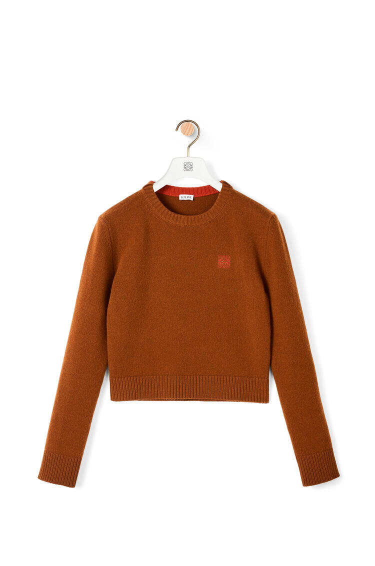 LOEWE Anagram embroidered cropped sweater in wool Brown Nut pdp_rd