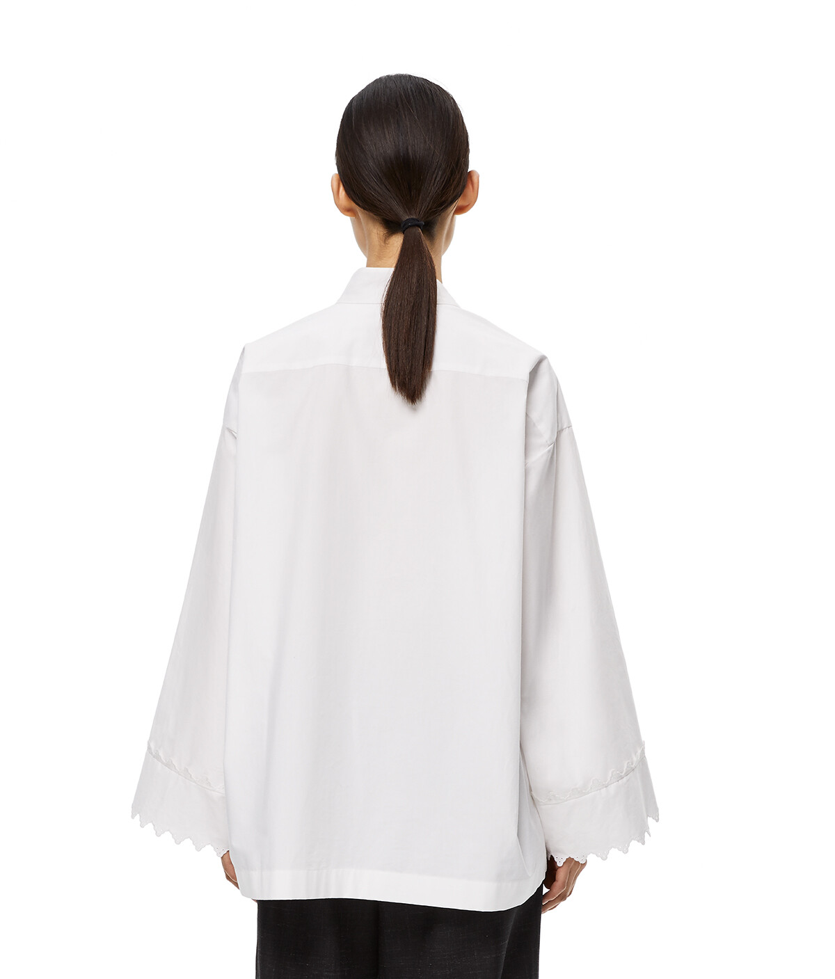 LOEWE Lace Trim Asymmetric Oversize Shirt White front