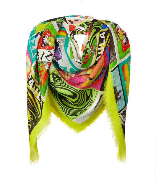 LOEWE 140厘米 x 140厘米俱乐部传单图案羊绒围巾 Multicolor front