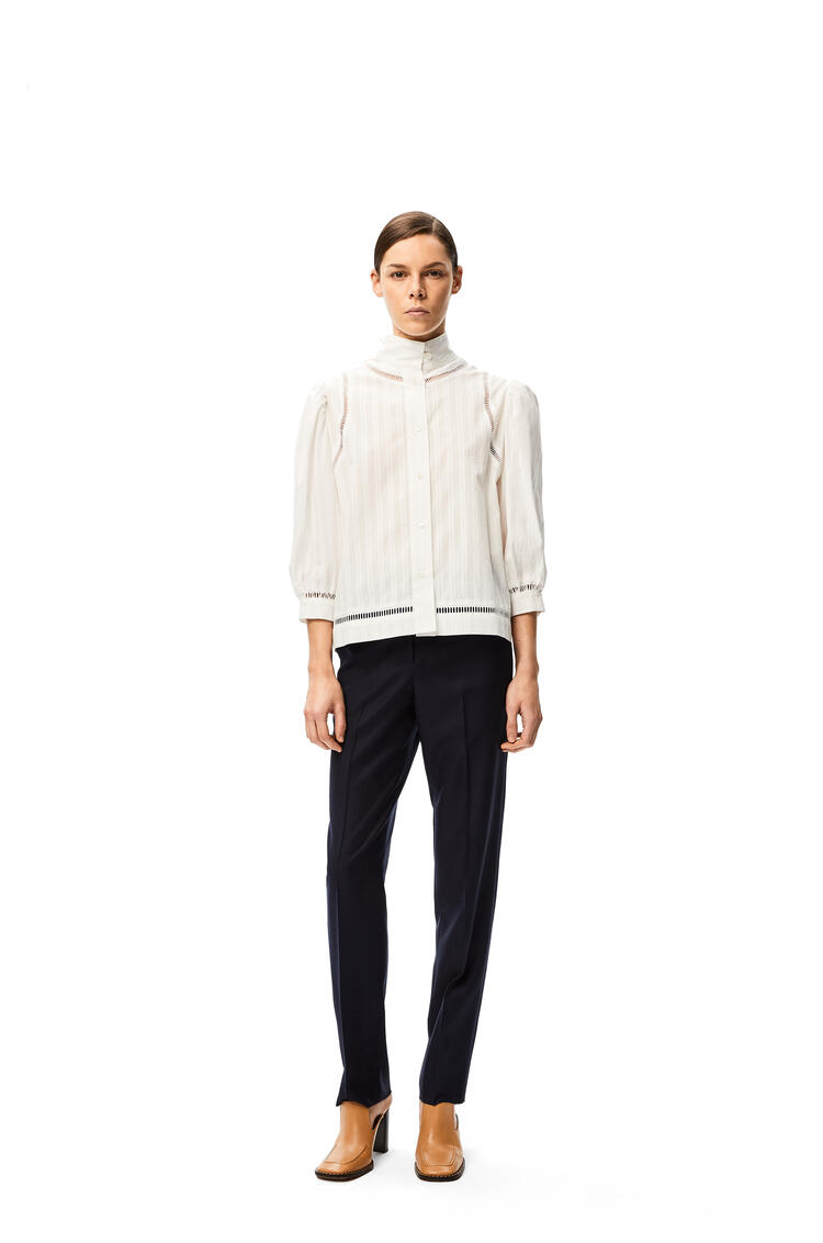 LOEWE Cropped tapered trousers in wool Navy Blue pdp_rd