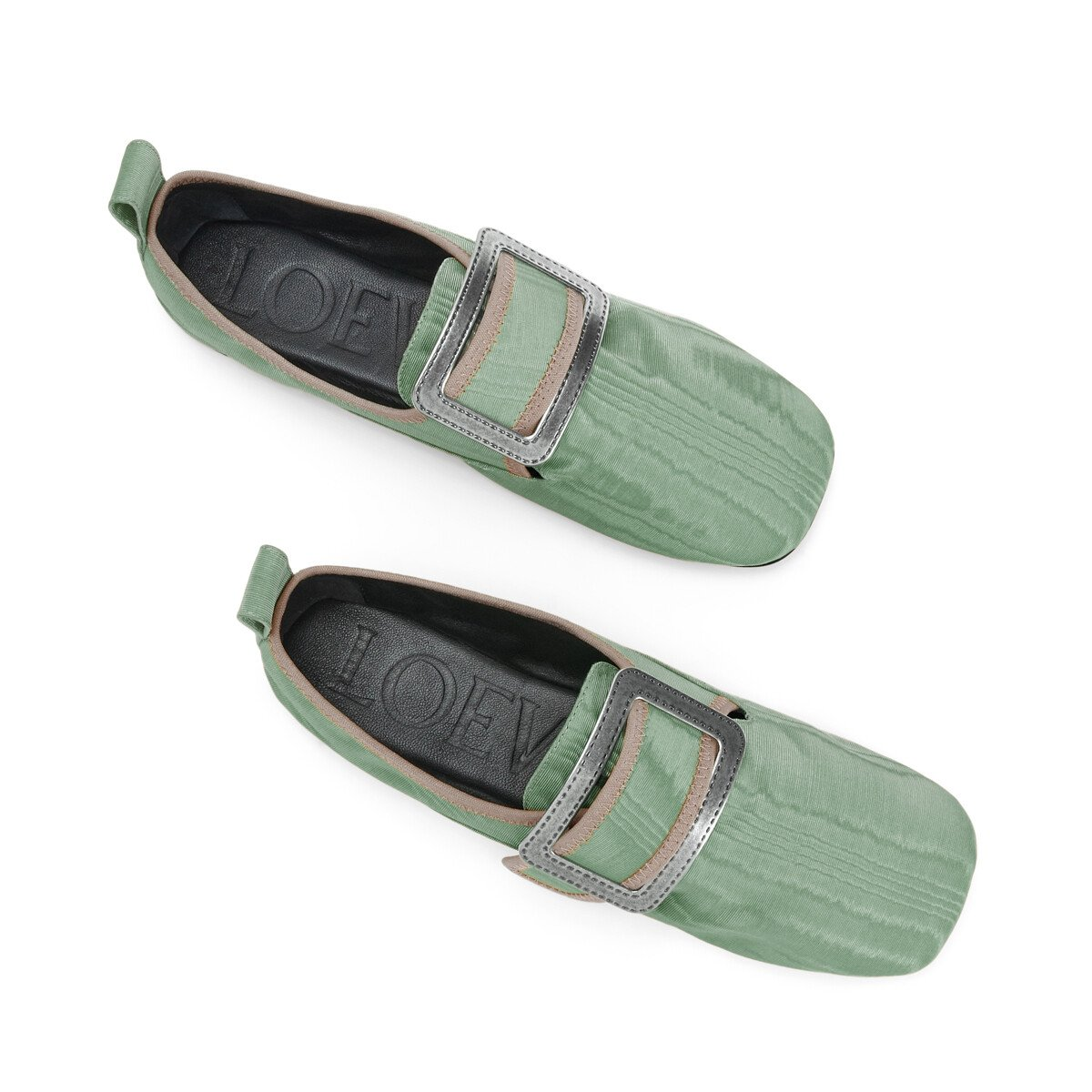 LOEWE Buckle Slipper Moire Sage front