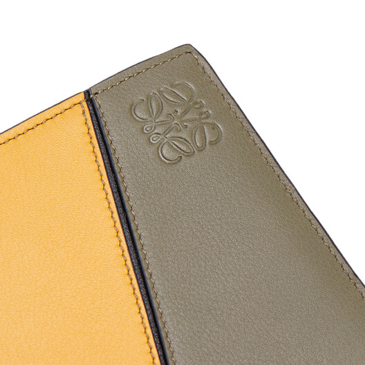 LOEWE Puzzle Bifold Coin Wallet Khaki Green/Ochre front