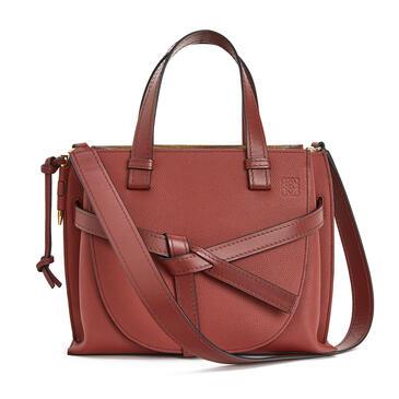 LOEWE Small Gate Top Handle bag in soft grained calfskin Garnet pdp_rd