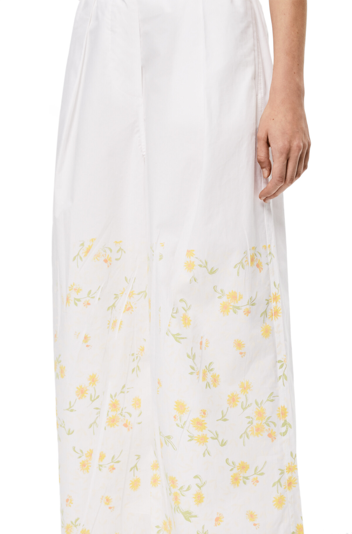 LOEWE Flower Print Cropped Trousers White/Yellow front