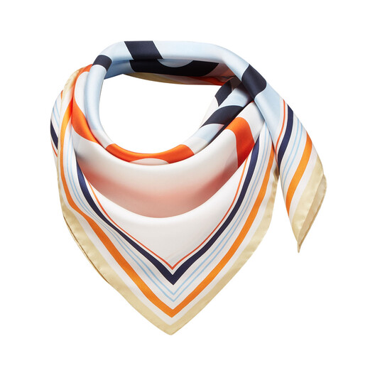 LOEWE 90X90 Scarf Frame Anagram Light Blue/Orange front