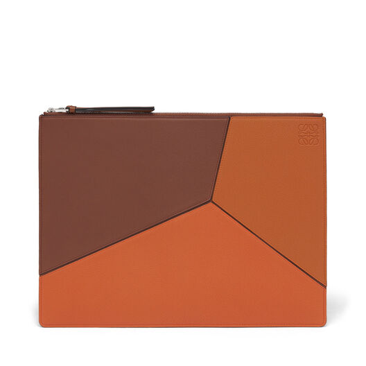 LOEWE Large Puzzle Flat Pouch Ginger Multitone all
